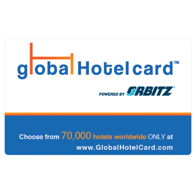 ORBITZ GLOBAL HOTEL CARD<sup>®</sup> $25 Gift Card - With over 70,000 hotel options worldwide, you can easily search for and book the right hotel for by price, location, star rating and other criteria at www.GlobalHotelCard.com.