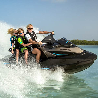 SEA-DOO<sup>®</sup> GTX 155 - Combining luxury, style and fun, this Sea-Doo offers activity-specific cruise control, front storage with watertight removable bin, tilt steering and reboarding step.  Ergolock seat with stepped design seats up to 3 passengers with a combined total weight of 600lbs.